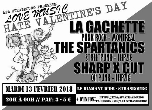 Concert : Love Music Hate Valentine's Day // La Gachette – Sharp X Cut – The Spartanics @ Le Diamant d'Or | Strasbourg | Grand Est | France