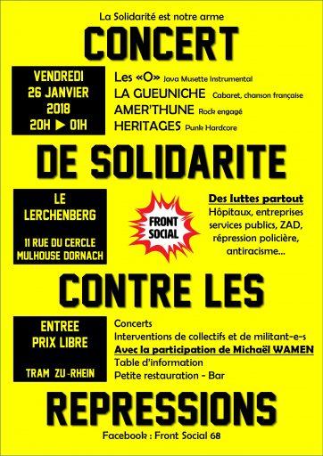 Concert de Solidarité contre les répressions @ Salle du Lerchenberg | Mulhouse | Grand Est | France